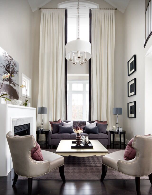 White Decor Curtains Against White Wall Transitional Living Room