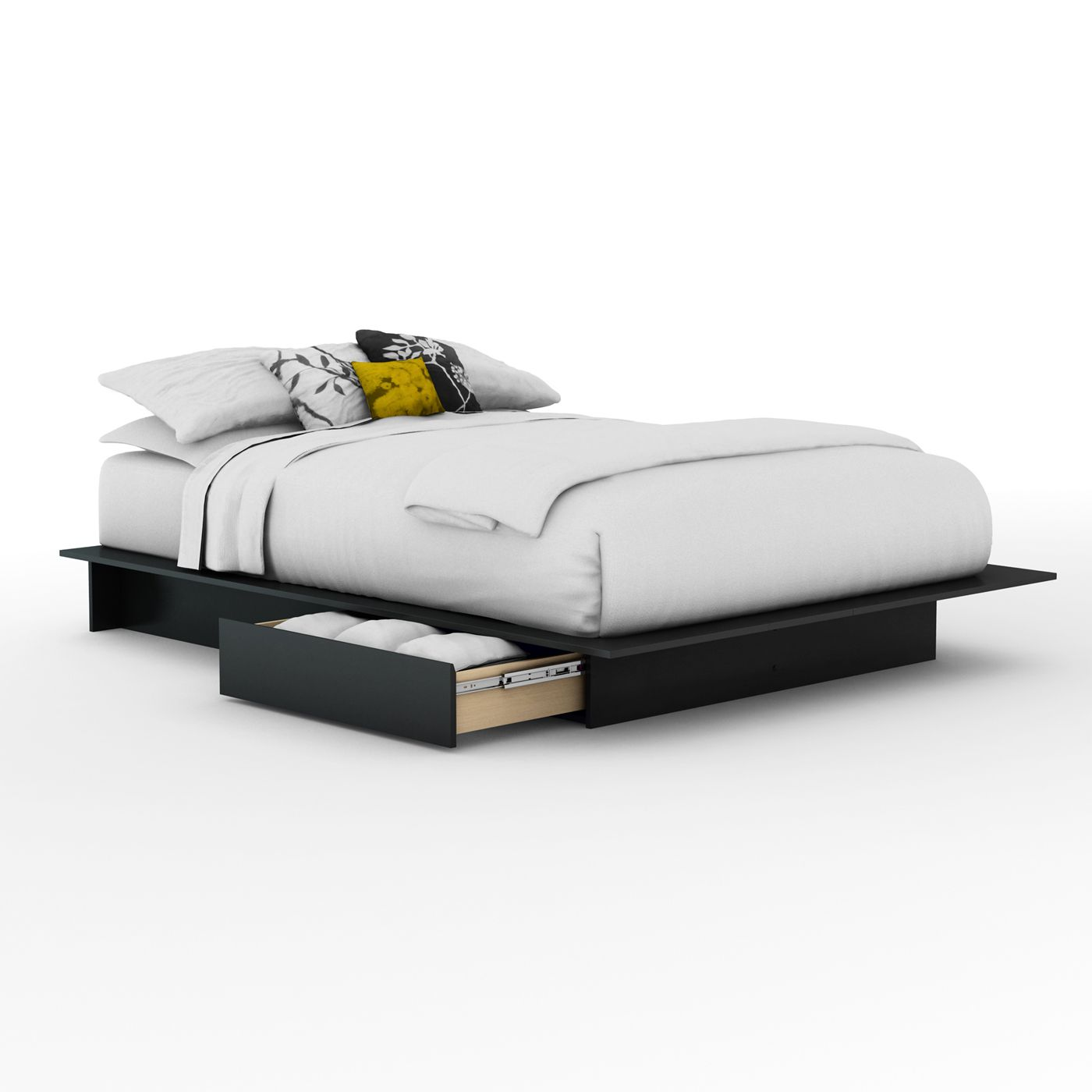 South Shore Furniture Step One Platform Bed With Side Drawers Platform Bed With Drawers Platform Bed With Storage Black Platform Bed