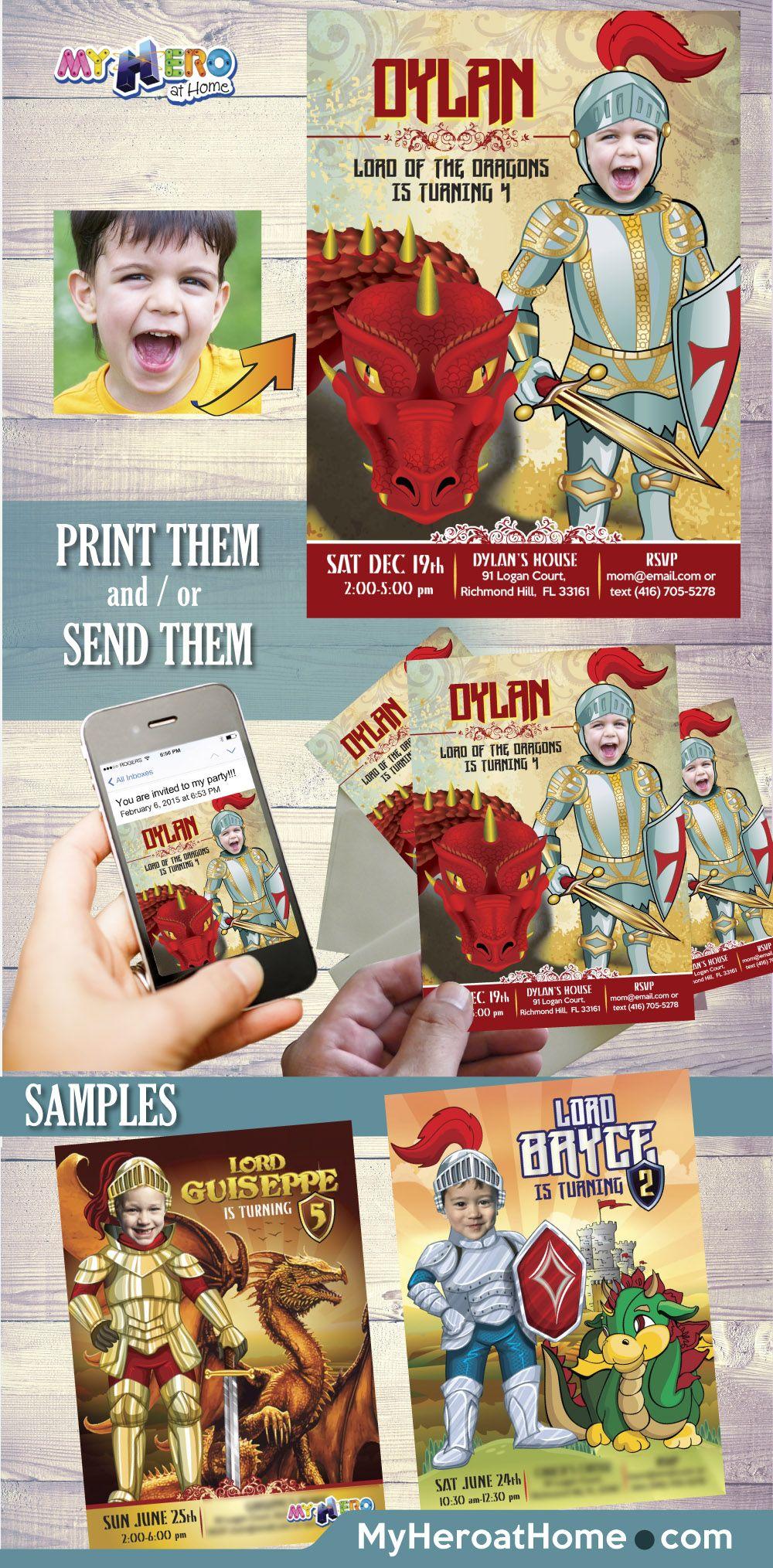 Knight and Dragons Birthday Invitation. Knights Party Ideas. Dragons ...