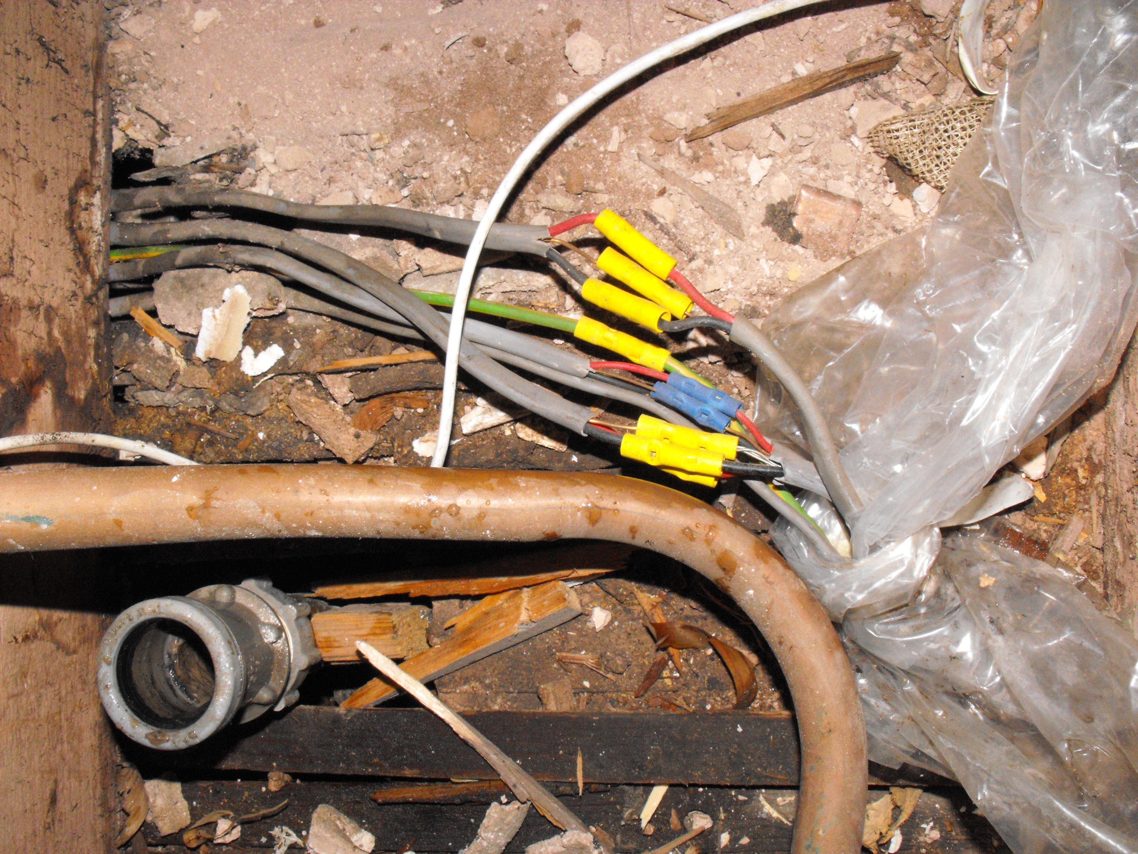 Final Circuits Extended When Consumer Unit Moved Non Compliant Connections Made Without Adequate Protection Quality Work Bathroom Flooring Electrical Cables