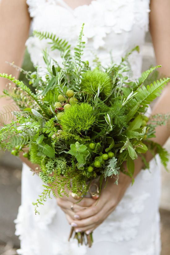 Bride S Bouquet Comprised Entirely Of Fresh Greens Greenery Foliage
