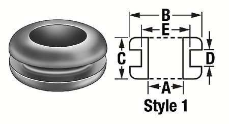 Rubber Grommet Grommet Sbr 1 7 8 Id 1 1 4dia Pk25 By Value Brand 8 94 Rubber Grommet General Purpose Style 1 Sbr Buna S Inside Dia A 7 8 In