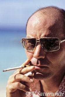 Dr. Hunter S. Thompson • March 14, 1974 • Cozumel, Mexico Photograph © 2013 Al Satterwhite. All rights reserved. No usage whatsoever without written permission - No Exceptions. #LittleBearProd