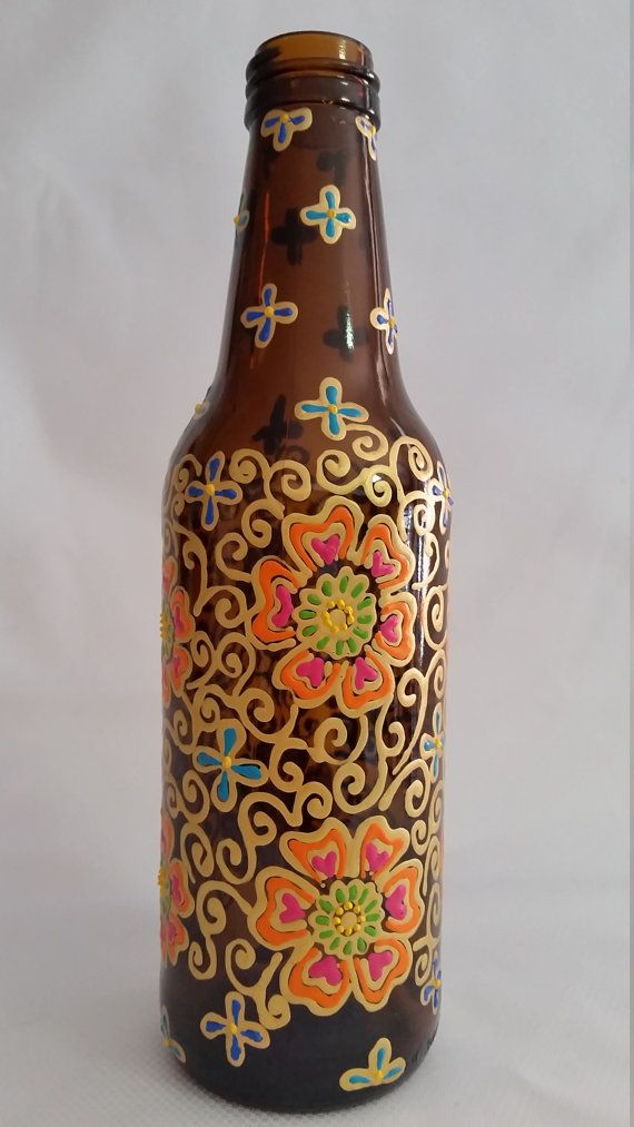 Hand painted up cycled beer bottle vase henna inspired for Hand painted bottles