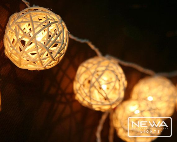 Decorative Rattan Balls 20 White Rattan Ball String Lights Fairy Lightsnewalights