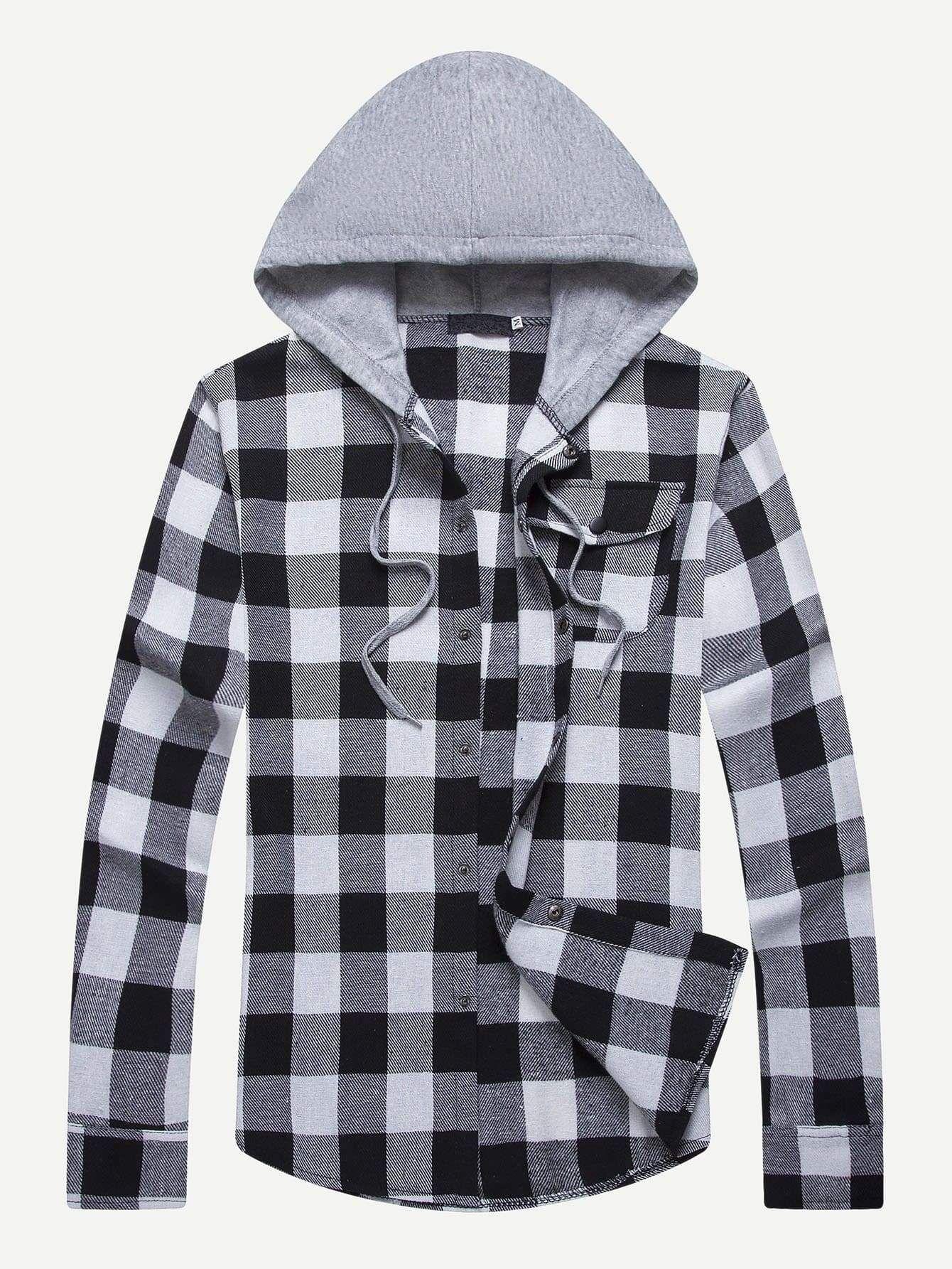 Men S Black White Checked Hooded Shirt Multi Sizes Free Ship Plaid Shirt Men Mens Shirts Hooded Shirt [ 1785 x 1340 Pixel ]
