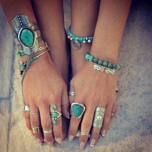 Bohemian Boho Turquoise Jewelry Bracelets And Rings Turquoise