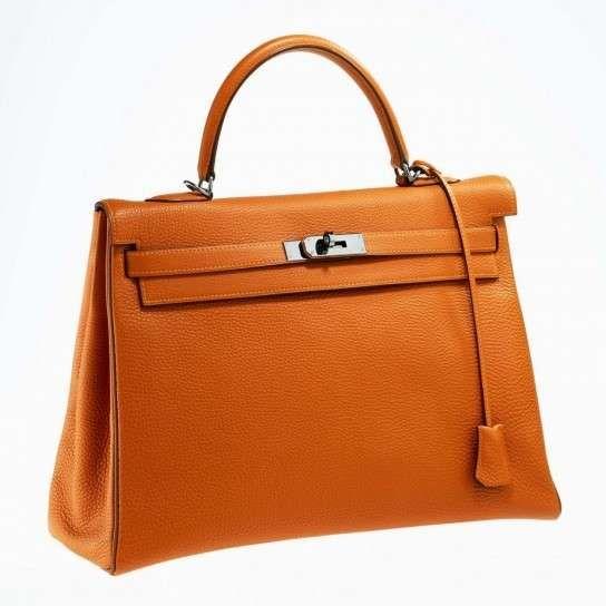 Borse Hermès più belle - Hermès Kelly in pelle arancione  6375ab73ad8