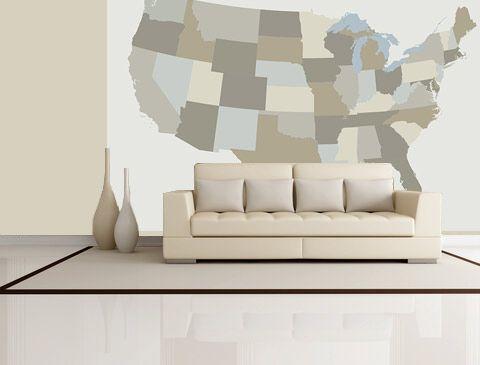 Us Map Mural.United States Neutral Colorblock Mural Worldmapsonline Com