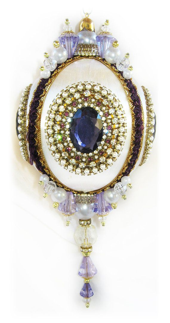 Dazzling Christmas Ornament - Purple/Crystal/Pearl