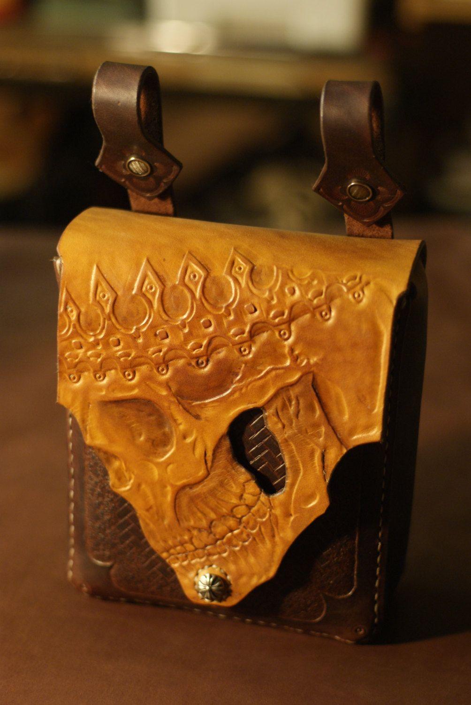 Items similar to Biker belt leather bag skull (WAISTBAG) on Etsy