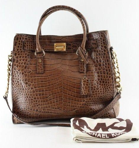 Michael Kors Dark Walnut Crocodile Leather Hamilton N S Tote Bag 398