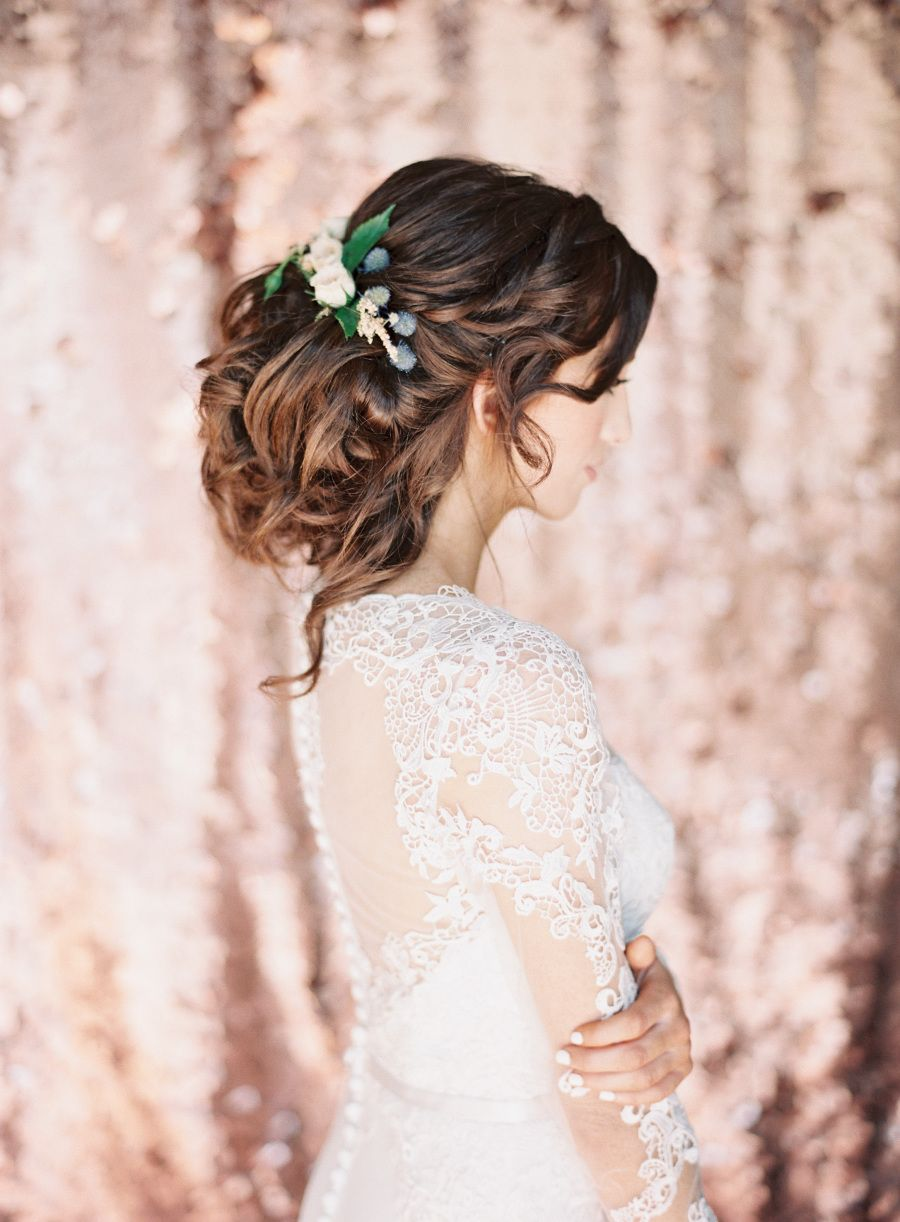 Touch of glam rose gold wedding inspiration bridal hairstyle gold