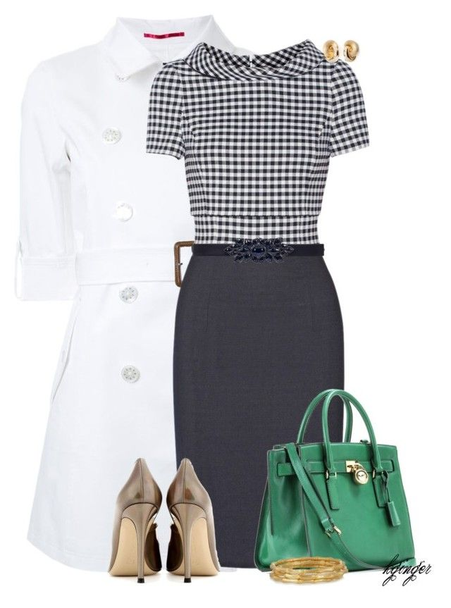 """""""Gingham Love"""" by kginger on Polyvore featuring Loveless, Oscar de la Renta, Gianvito Rossi, MICHAEL Michael Kors, Christian Dior and Kenneth Jay Lane"""