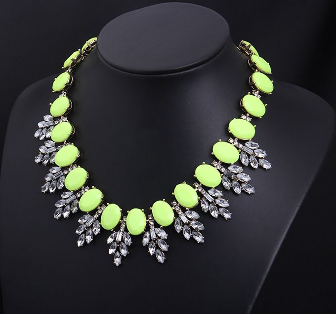 Morpheus Boutique  - Green Crystal Stone Droplet Statement Limited Edition Necklace ,  £45.29 (http://www.morpheusboutique.com/jewelry-watches/necklaces/green-crystal-stone-droplet-statement-limited-edition-necklace/)