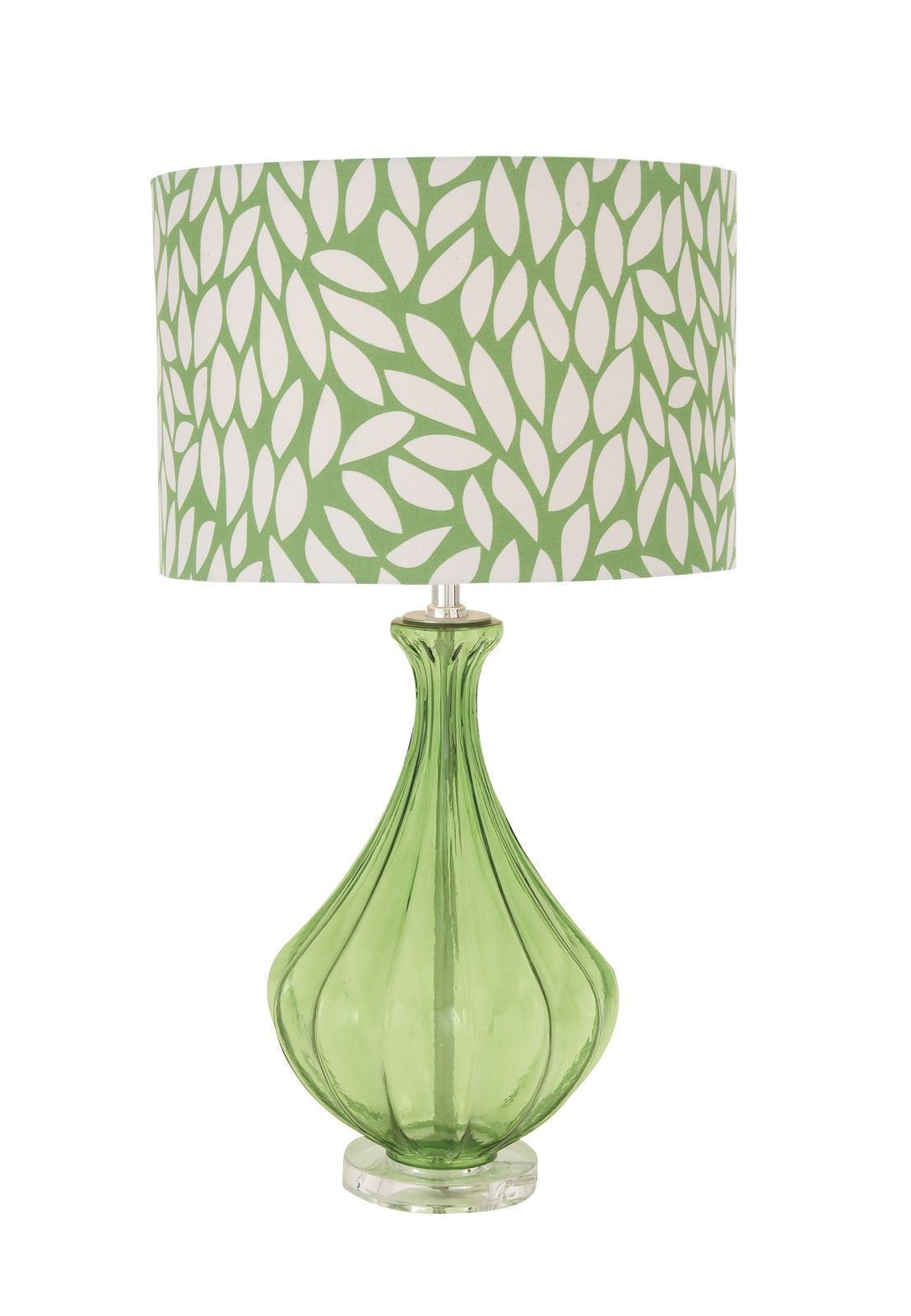 Modern leaf print 27 green white glass table lamp retro woodland imports 401 the cool green glass acrylic table lamp geotapseo Gallery