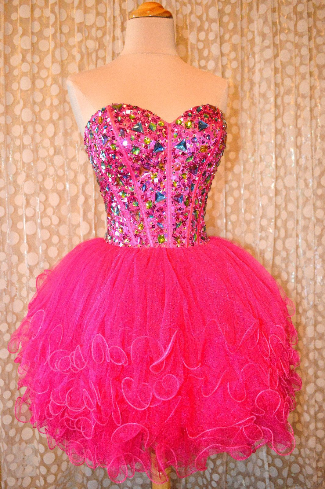 PINK SHORT PROM HOMECOMING COCKTAIL EVENING WEDDING PAGEANT GOWN ...