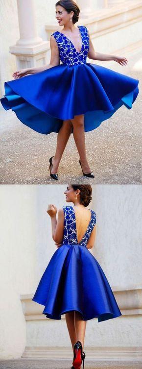 Vestidos de coctel color azul rey
