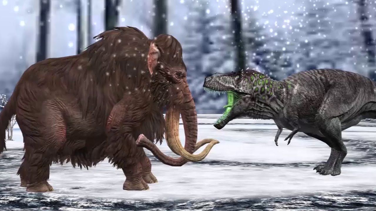 Prehistoric Mammoth Hunting | Mountain mammoth Vs T-Rex ...