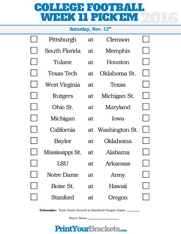 image regarding College Football Pick Em Printable Sheets named 7 days 11 School Soccer Pickem Sheet Higher education Soccer