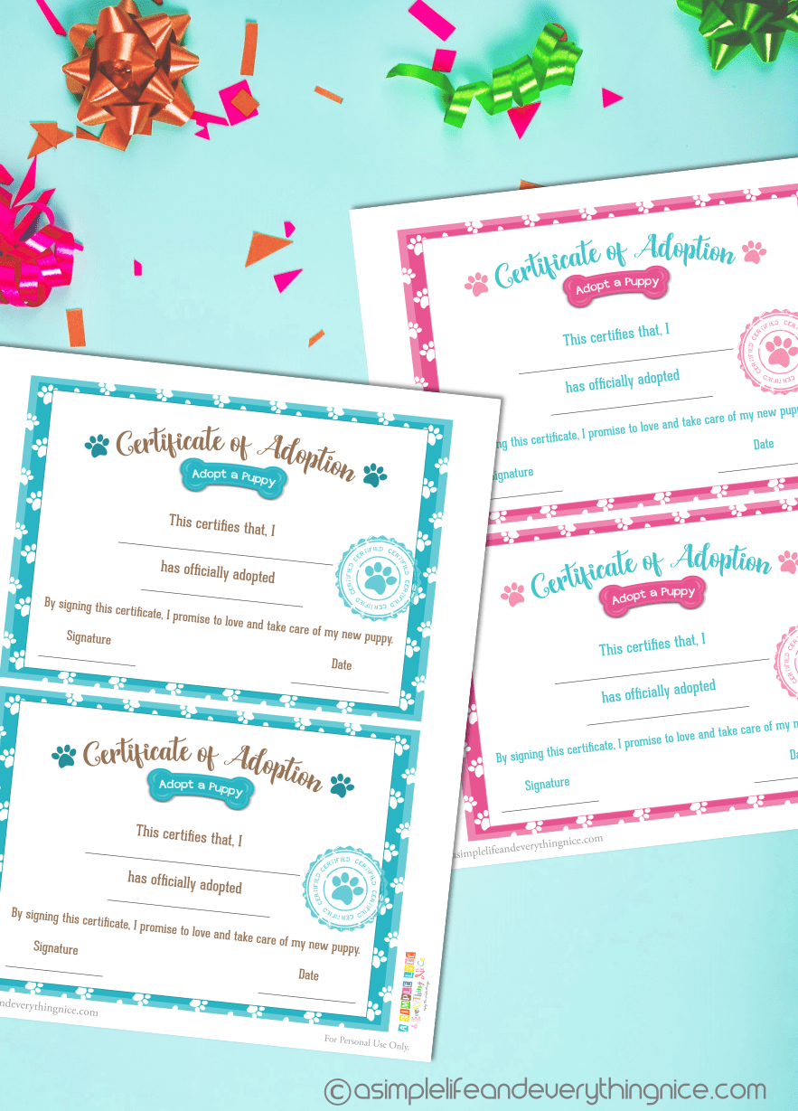 Free Puppy Adoption Certificate And Adopt A Puppy Printable Sign