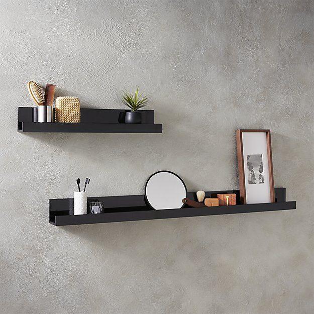 Piano black wall shelves | Black wall shelves