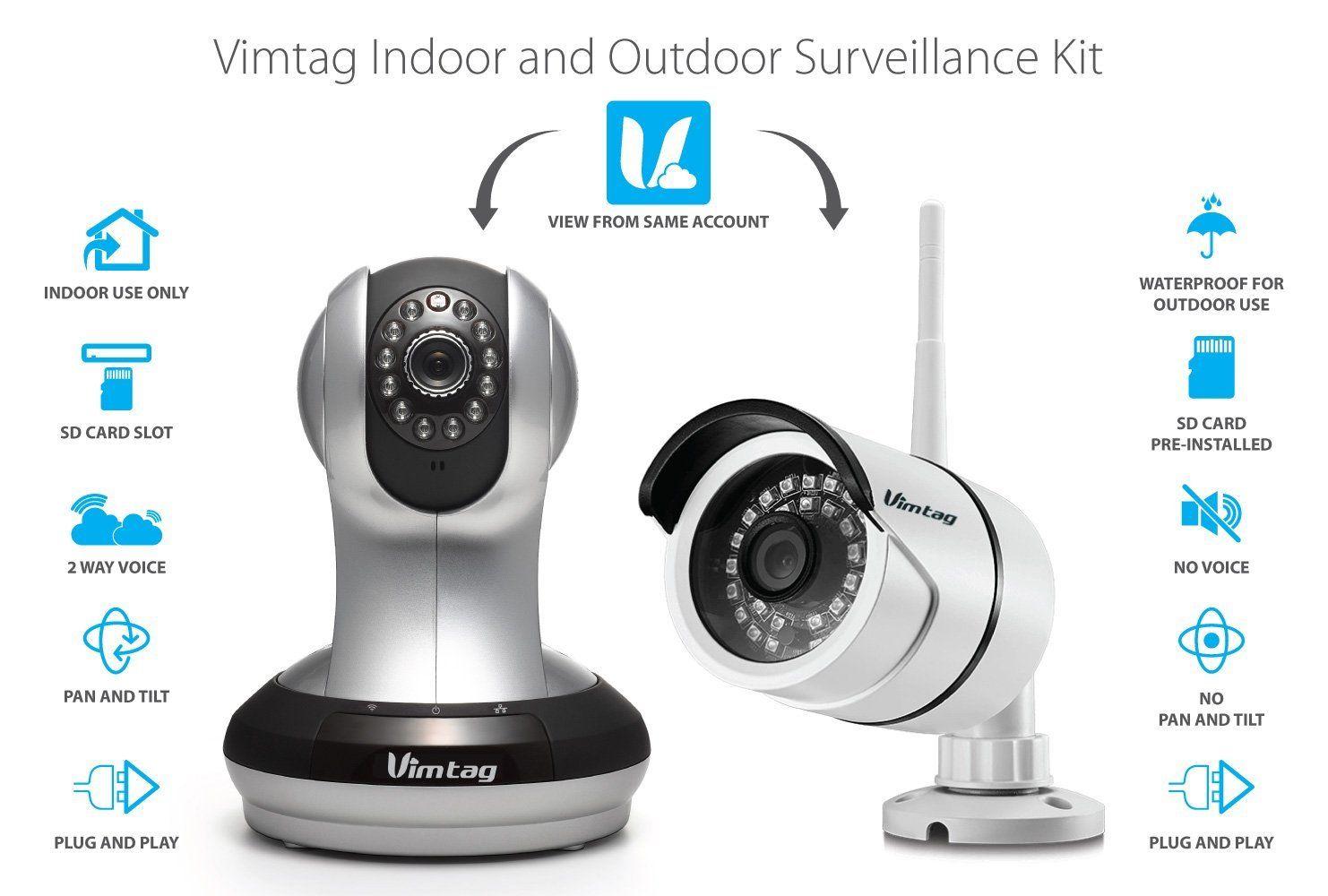 Vimtag 1 Pack Ind & Out Kit Indoor & Outdoor Surveillance Kit ...