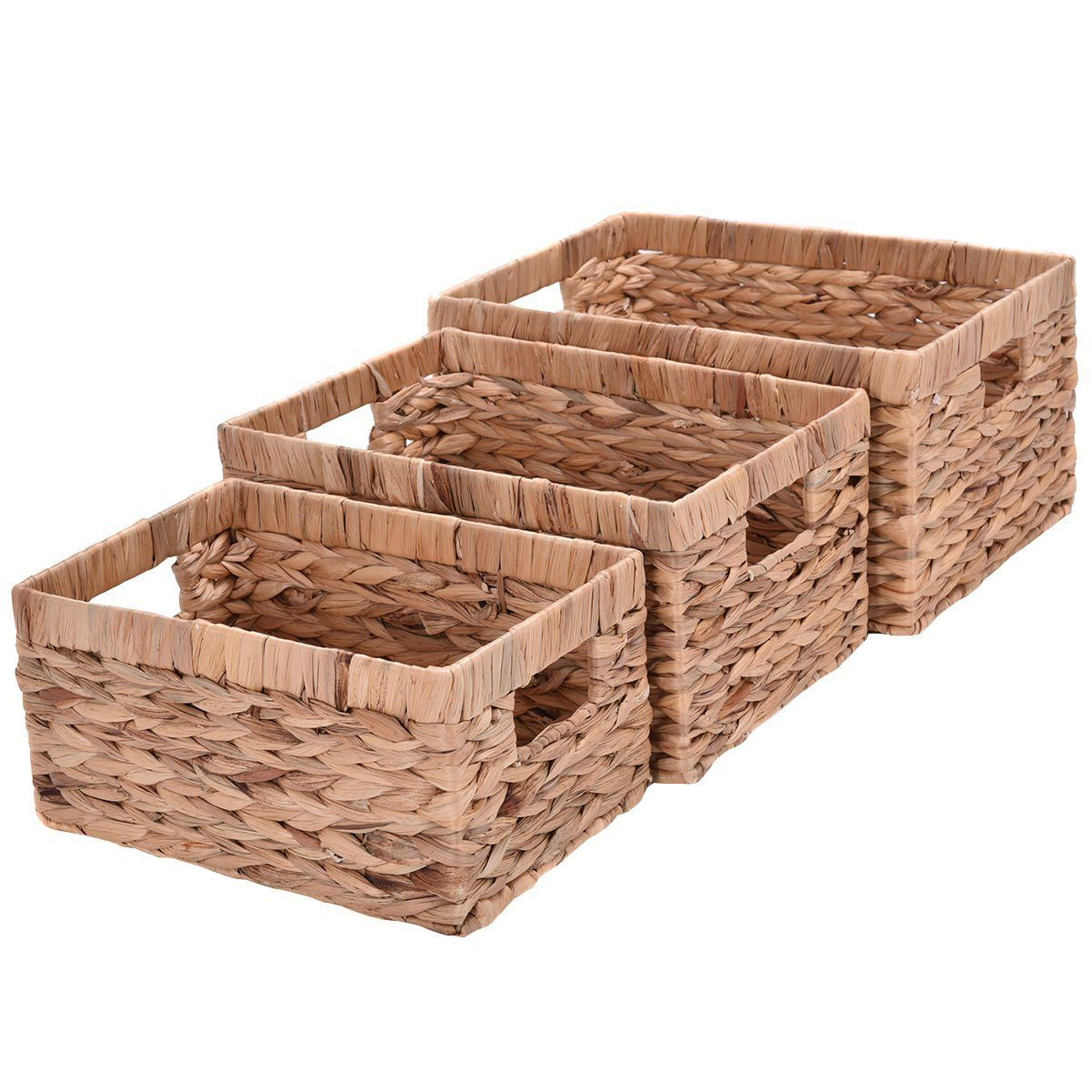 Amazon.com: Giantex Set of 3 Hand Knitting Rectangle Storage Baskets Steel Frame Organizer (Set of 3 Without Handel): Home & Kitchen