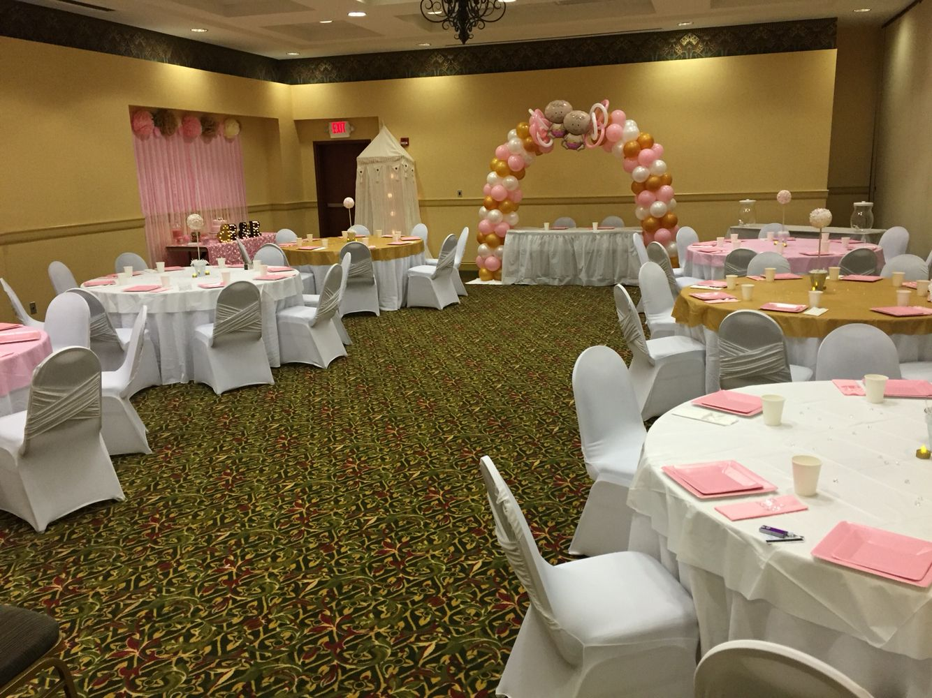 Baby Shower Room Set Up Ideas Full room setup Pearl Baby Shower, Room Setup, Twin Girls, Baby Gender,