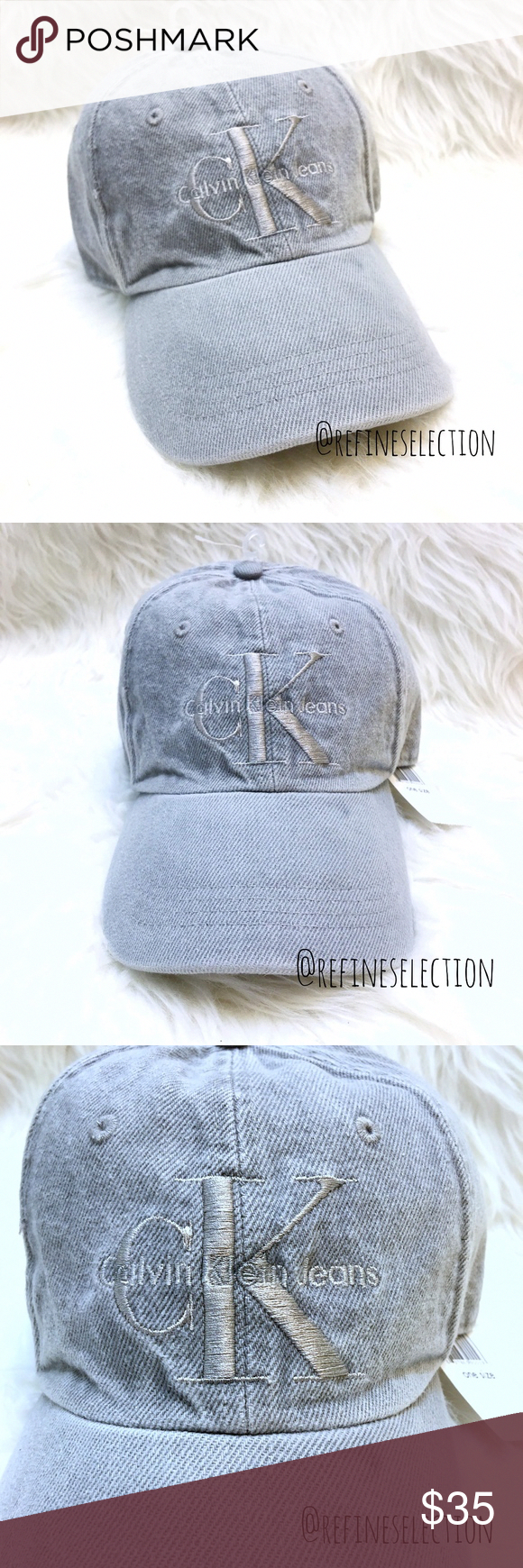 e2102ad8d02 Calvin Klein Grey Embroidered Denim Dad Hat Cap Brand new with tags ...