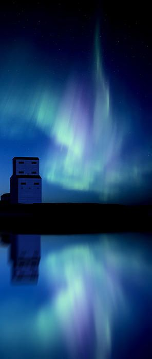 Northern Lights over a grain elevator in Saskatchewan, Canada • photo: Mark Duffy on FineArtAmerica