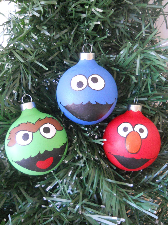 Sesame Street Elmo Cookie Monster Oscar Hand Painted Ornament Set Christmas Ornaments Painted Christmas Ornaments Painted Ornaments