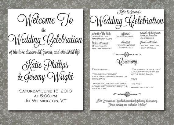 Printable Wedding Program Script Elegance DIY by WrittenInDetail