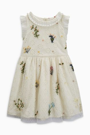 b8e25815 Buy Ecru Embellished Shift Dress (3mths-6yrs) from Next Netherlands ...