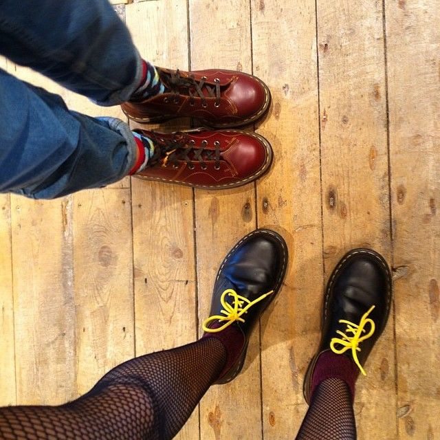5b6a0e598c169 Dr. Martens Church Monkey Boot and 1461 Shoe, customised with bright yellow  laces.