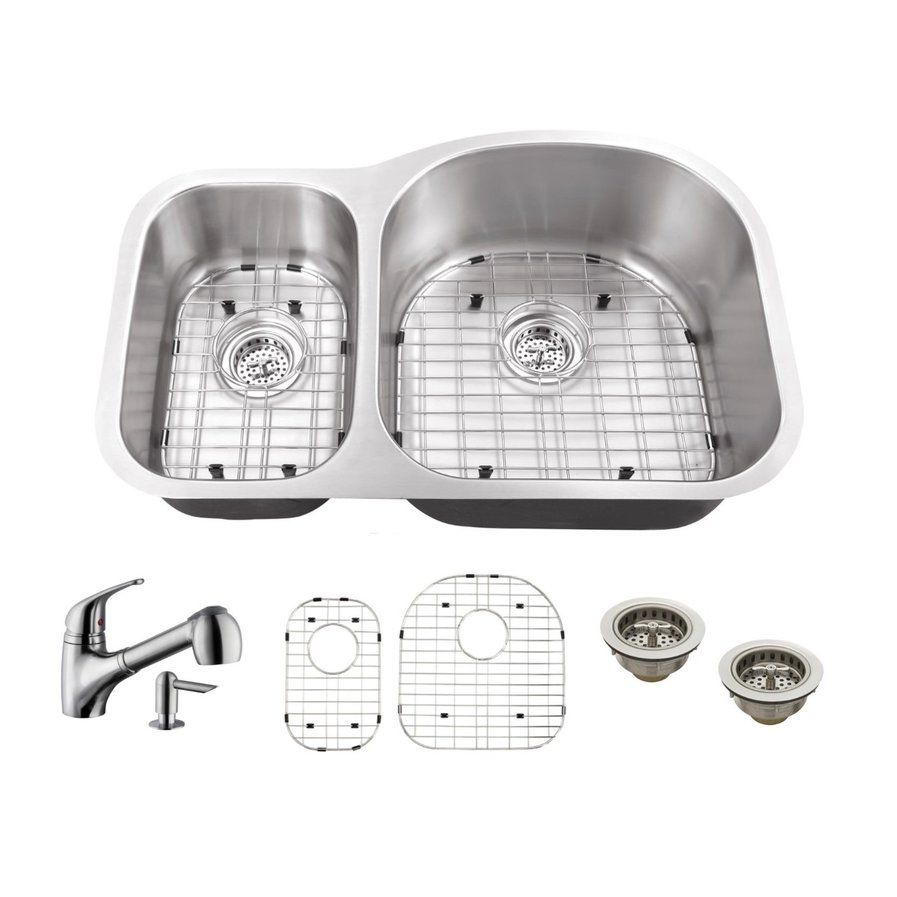 Gauge Stainless Steel 32 X 21 Double Basin Undermount Kitchen Sink With Faucet And