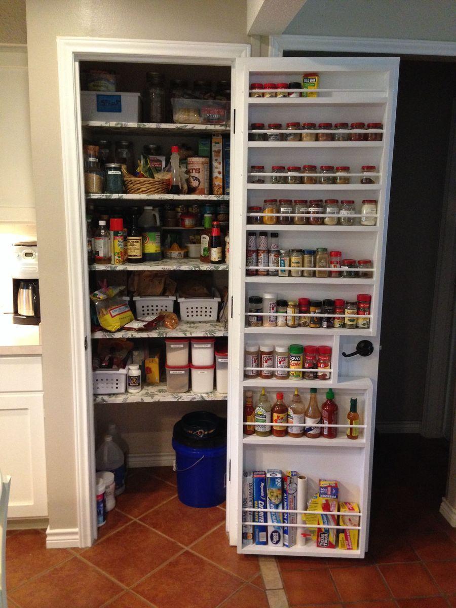 Diy Door Spice Rack For Pantry Look At All That Extra Storage Pantry Remodel Pantry Door Rack Kitchen Pantry Design