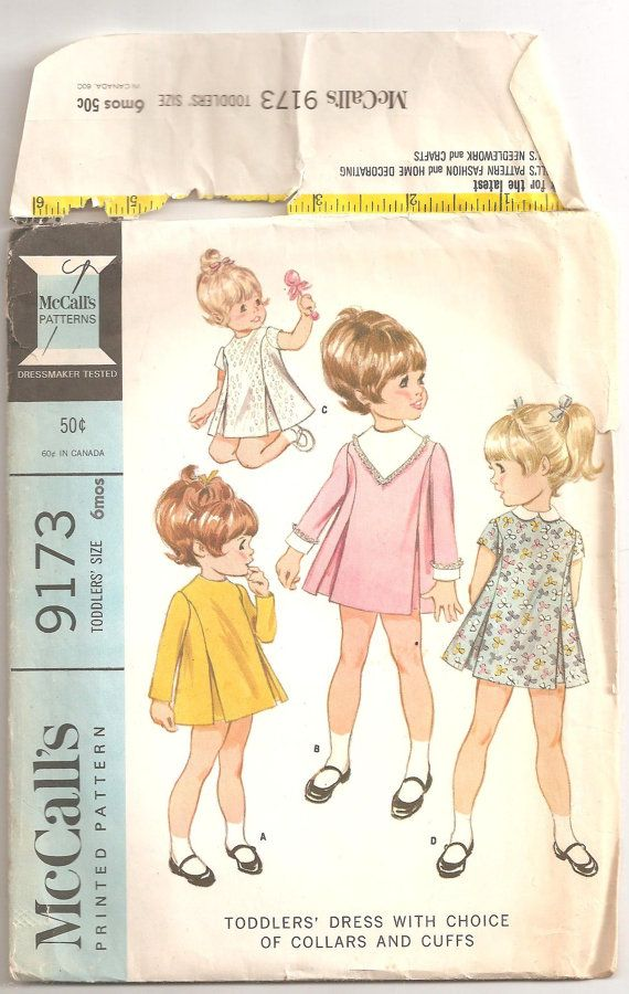 Vintage 1968 Toddlers Dress Pattern w/choice of collars or cuffs ...