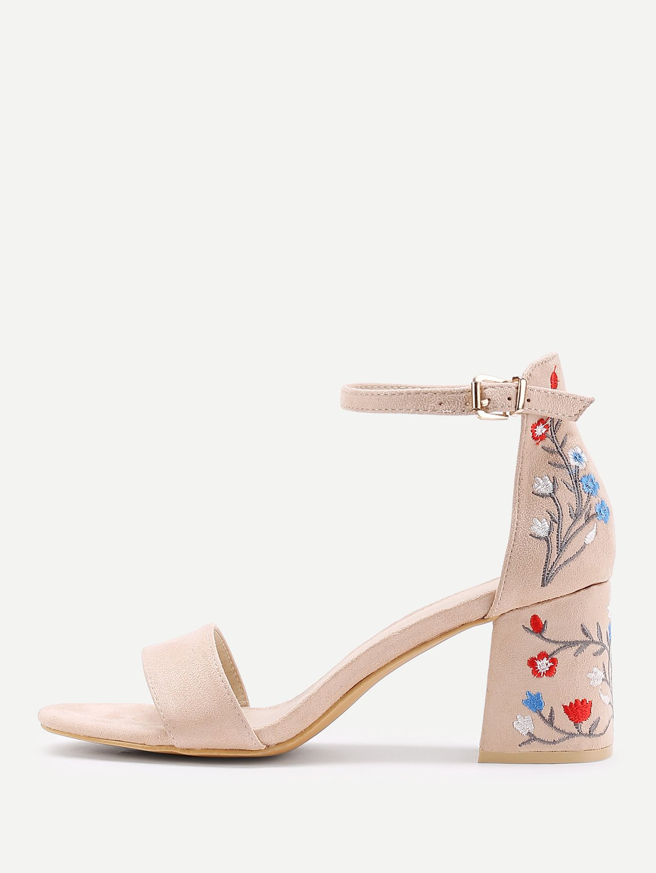 Shop Flower Embroidery Two Part Block Heeled Sandals online. SheIn offers  Flower Embroidery Two Part Block Heeled Sandals   more to fit your  fashionable ... 9424c405e3