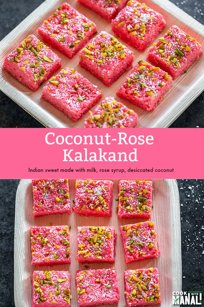 coconut rose kalakand cook with manali in 2020 indian dessert recipes kalakand recipe on hebbar s kitchen sweets id=58130
