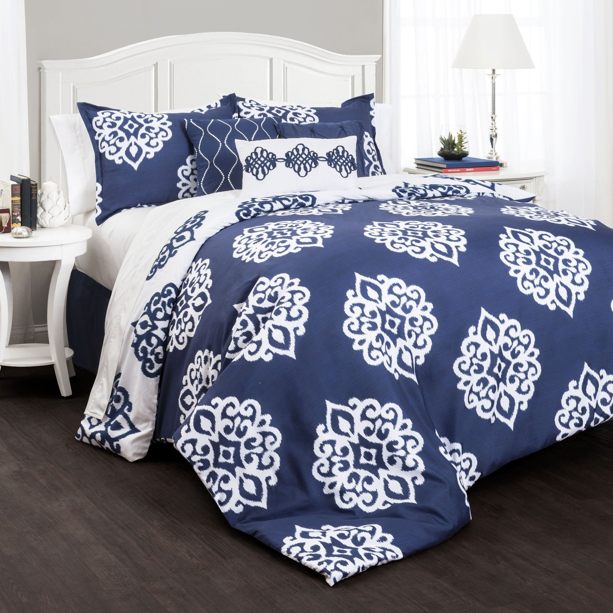 Navy Blue White Palampore 8p Floral Comforter Set Queen Paisley French Country Blue Comforter Sets Queen Comforter Sets Comforter Sets