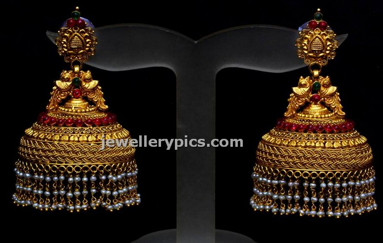 757ab672766e9 Big Jhumka buttalu by Bhima jewellers - Latest Jewellery Designs ...
