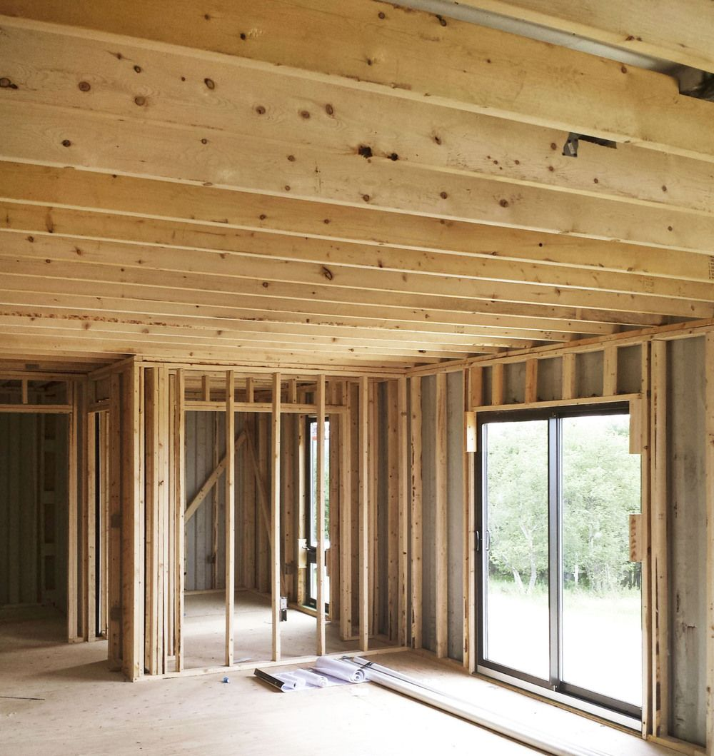 Exceptional Wood Studs And Ceiling Rafter Beams Installed In Shipping Container Home