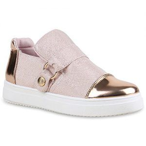 50421dcd537534 Slip-Ons Damen Schuhe Lack Sneakers Glitzer Slipper Metallic 134557 Rosa  Brooklyn 40 Flandell