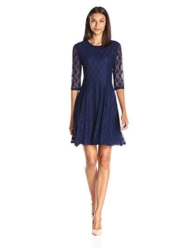 Lark /& Ro Womens Plus Size Three Quarter Sleeve Knit Fit and Flare Dress