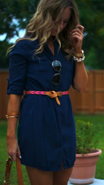 navy dress with colorful belt