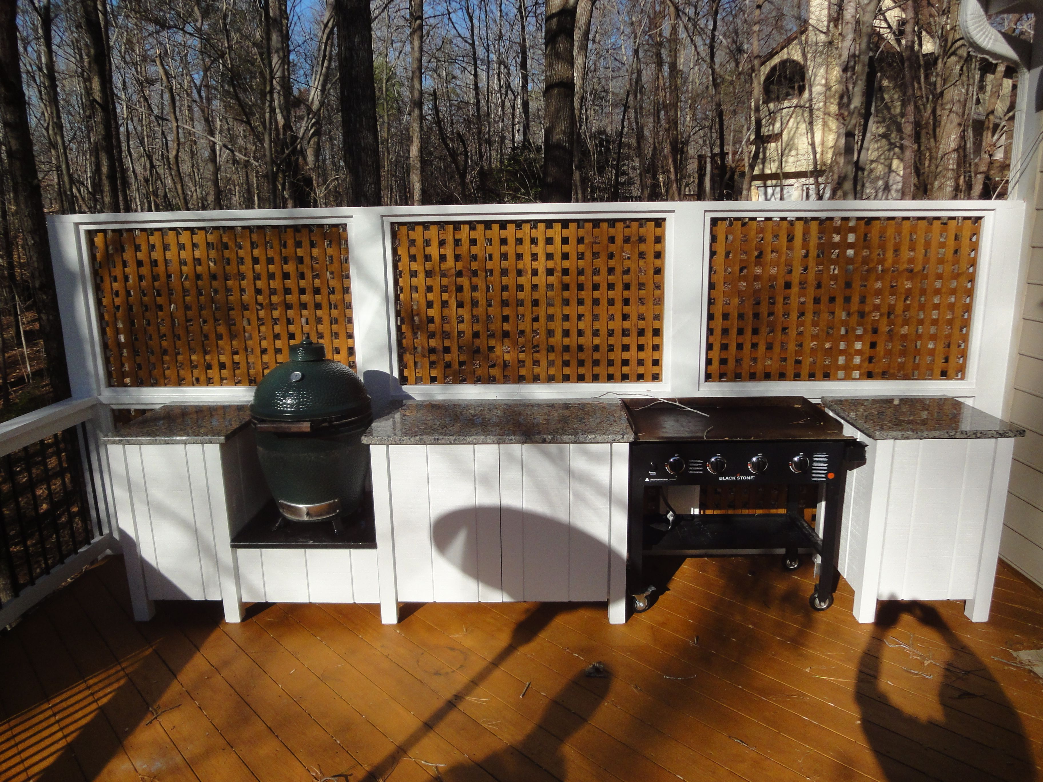 Raleigh Custom Deck With Outdoor Kitchen Featuring An Egg And A Flat Top Grill And Granite Outdoor Kitchen Design Outdoor Kitchen Countertops Cheap Renovations