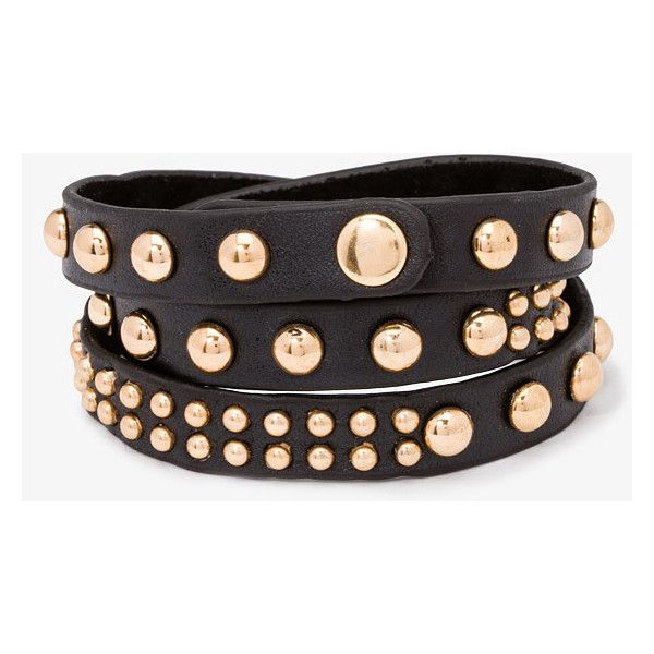 Forever 21 Studded Wraparound Bracelet ($5.99) ❤ liked on Polyvore featuring jewelry, bracelets, acessorio, pulseira, צמידים, adjustable bangle, wrap bracelet, vegan jewelry, adjustable bracelet and snap jewelry