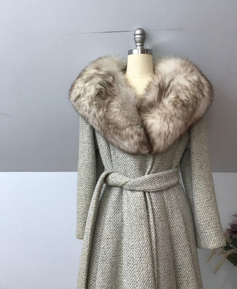 VINTAGE mink collar button up winter wool coat 1950s60s
