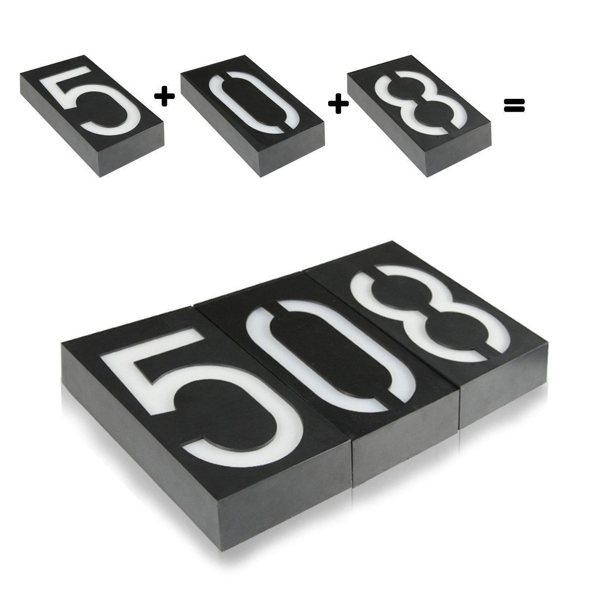 New Solar Powered 6 LED Illuminated House Door Number Light Wall Plaque Metal Re
